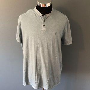 John Varvatos mens 2XL blue Henley shirt EUC